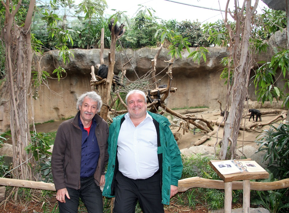 26_Prof  Christophe Boesch und Dr  Jörg Junhold in Pongoland  Zoo Leipzig (2)